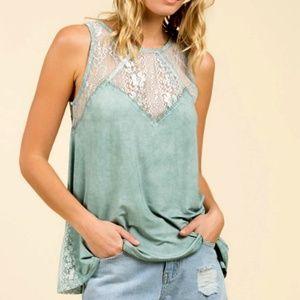 POL Sage Lace Sleeveless Zipper Back Summer Top